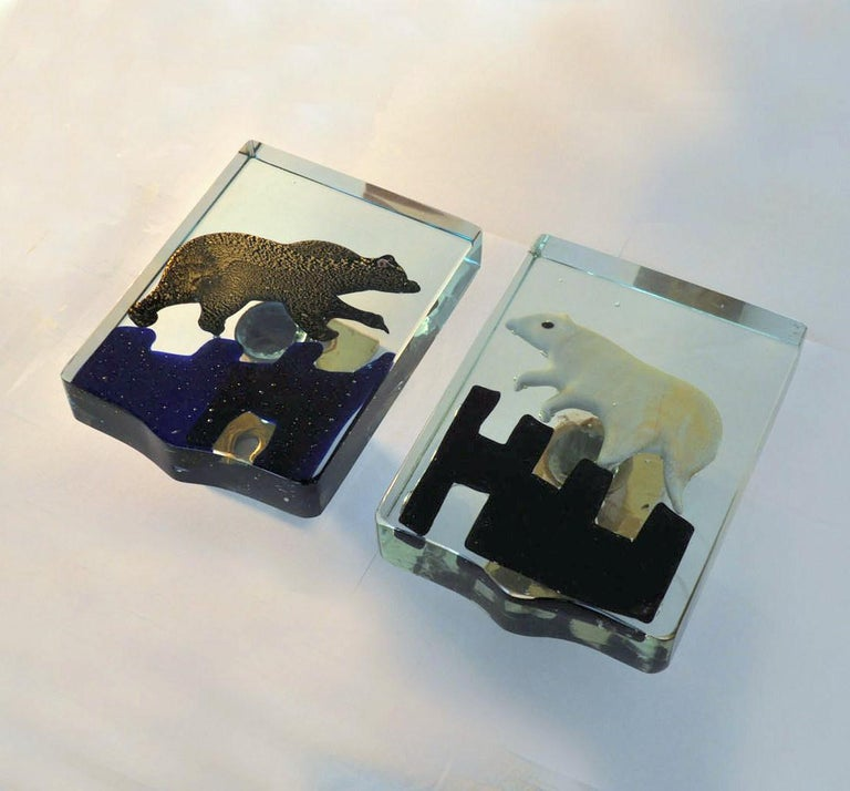 Mid-20th Century Pair of Venetian Blown Glass Polar Bear Door Handles by Alfredo Barbini, 1940s For Sale