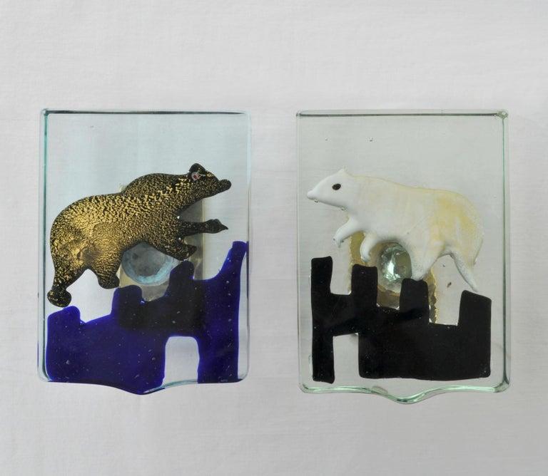 Pair of Venetian Blown Glass Polar Bear Door Handles by Alfredo Barbini, 1940s 12