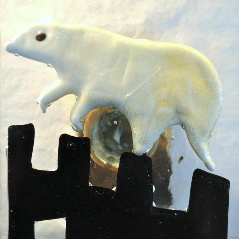 Italian Pair of Venetian Blown Glass Polar Bear Door Handles by Alfredo Barbini, 1940s