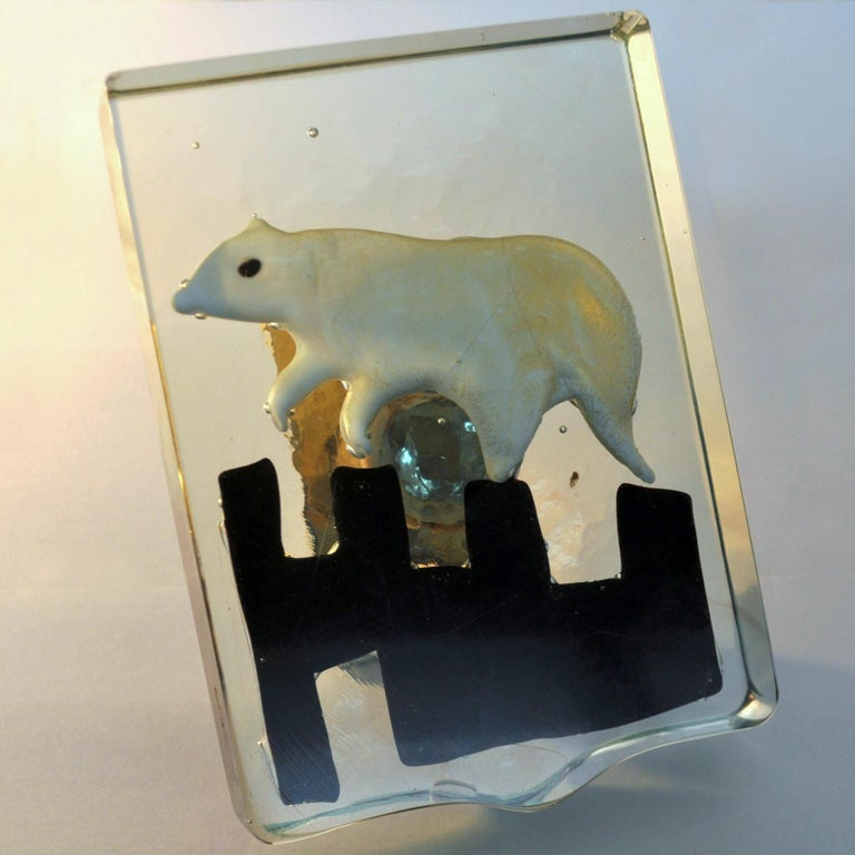 Hand-Crafted Pair of Venetian Blown Glass Polar Bear Door Handles by Alfredo Barbini, 1940s For Sale