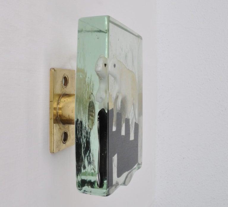 Pair of Venetian Blown Glass Polar Bear Door Handles by Alfredo Barbini, 1940s 6