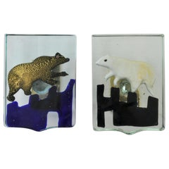 Pair of Venetian Blown Glass Polar Bear Door Handles by Alfredo Barbini, 1940s