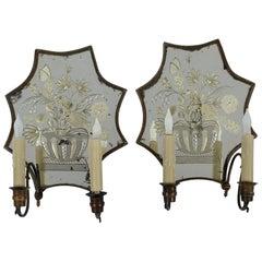 Pair of Venetian Bronze Mirror Sconces