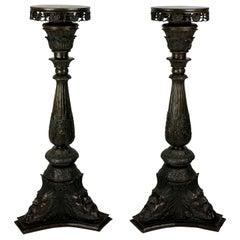 Pair of Venetian Bronze Torchère Pedestals