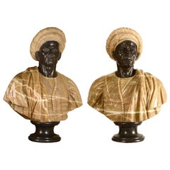 """Pair of """"Venetian Busts"""". Marble, 20th Century"""