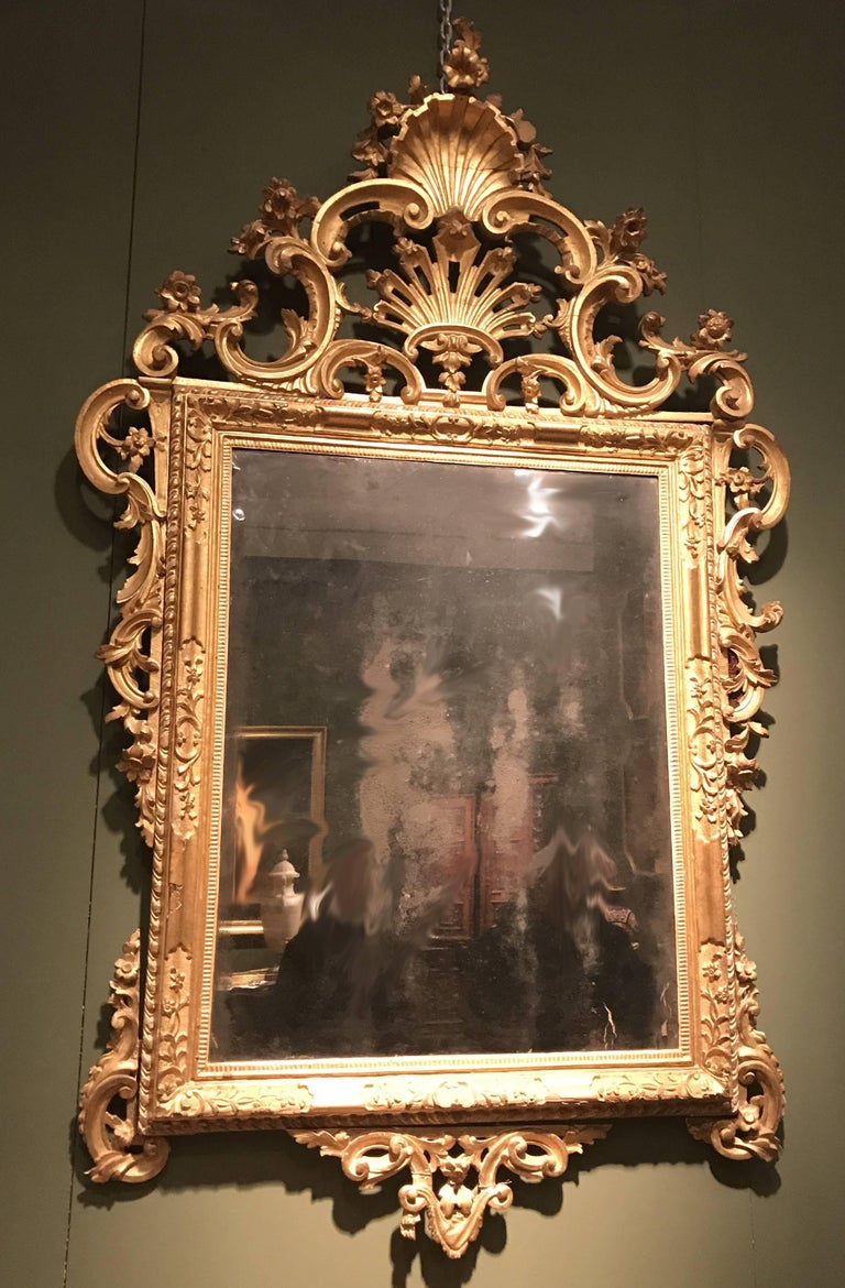 Louis XV Pair of Venetian Carved and Giltwood Mirrors, Italy, circa 1750 For Sale