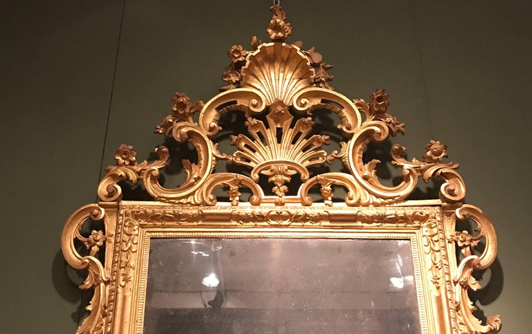 Wood Pair of Venetian Carved and Giltwood Mirrors, Italy, circa 1750 For Sale