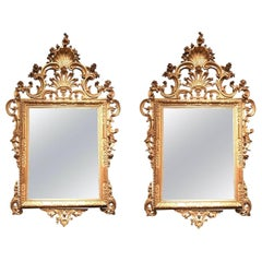 Pair of Venetian Carved and Giltwood Mirrors, Italy, circa 1750