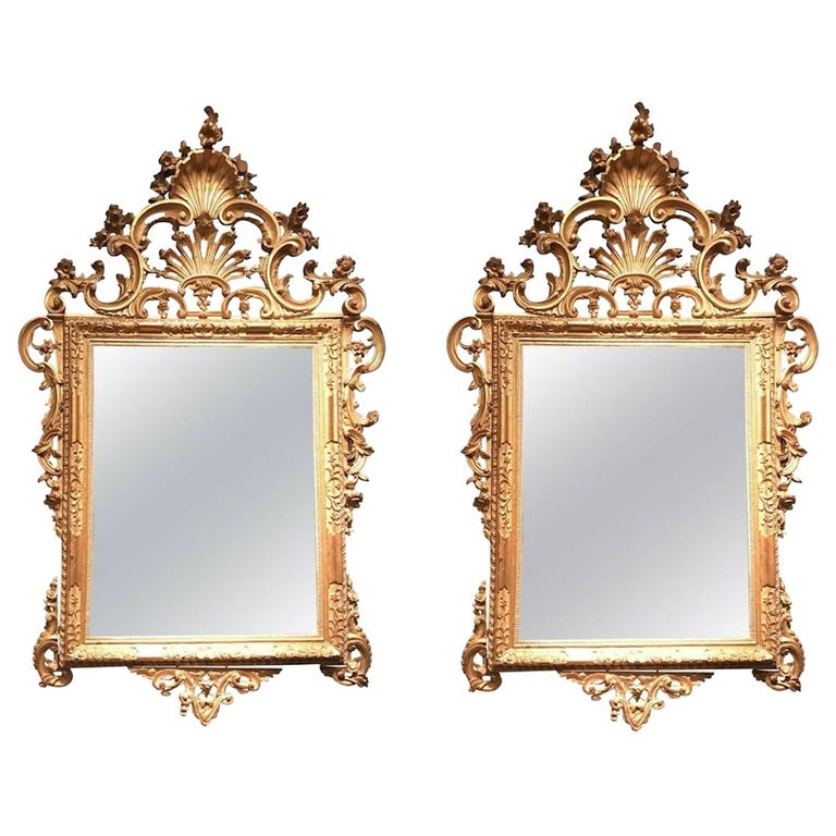 Pair of Venetian Carved and Giltwood Mirrors, Italy, circa 1750 For Sale