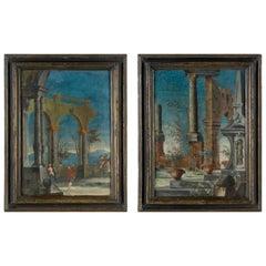 Pair of Venetian Commedia dell'Arte Paintings, Italy, 18th Century