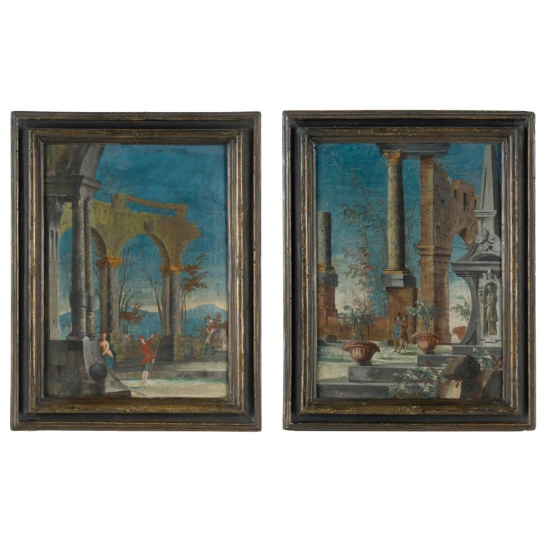 Pair of Venetian Commedia dell'Arte Paintings, Italy 18th Century