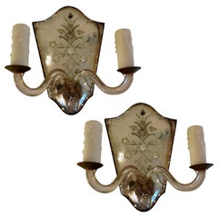 Pair of Venetian Etched Mirrored Sconces