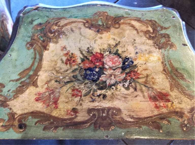Pair Of Venetian Or Italian Floral Decorated Painted