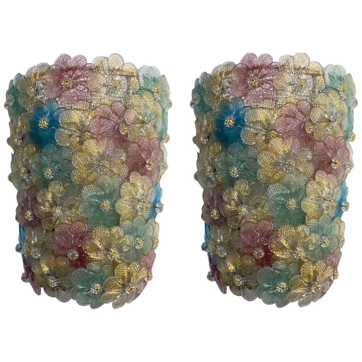 Pair of Venetian Flowers Glass Sconces