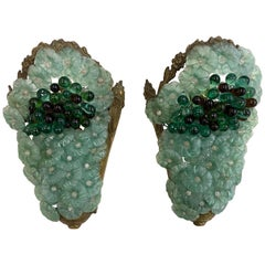 Pair of Venetian Glass and Brass Floral Grape Cluster Lighted Sconces, 1950s