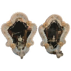 Pair of Venetian Glass and Etched Mirrored Candle Sconces, 1920s