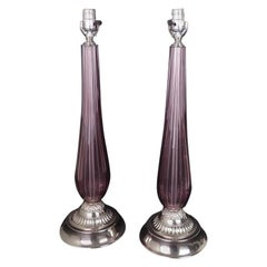 Pair of Venetian Glass Lamps in Manner of Seguso