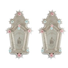 Pair of Venetian Glass Mirrors, circa 1910