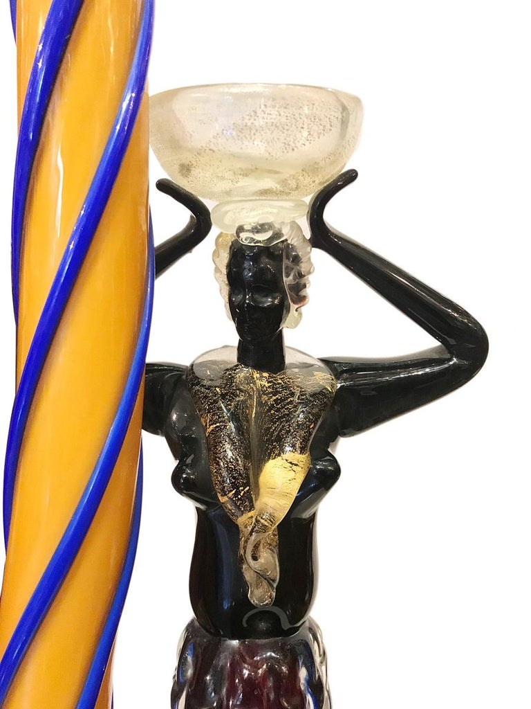 Italian Pair of Venetian Glass Table Lamps For Sale