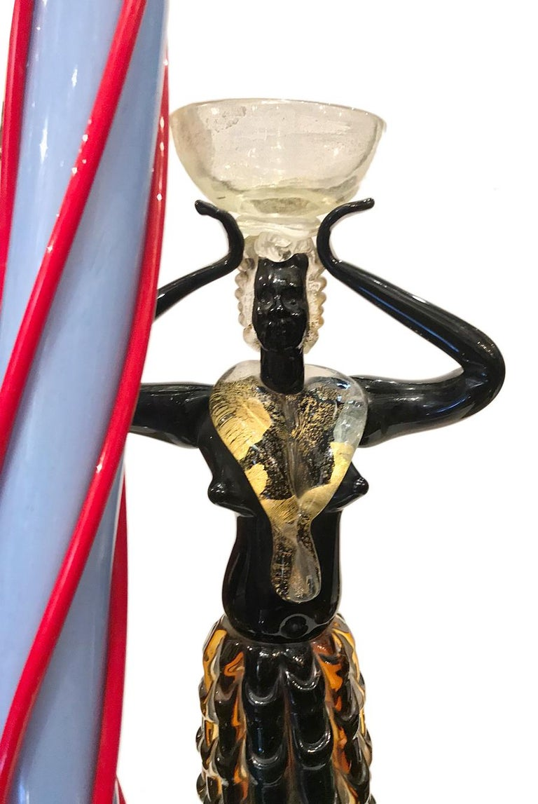 Gilt Pair of Venetian Glass Table Lamps For Sale