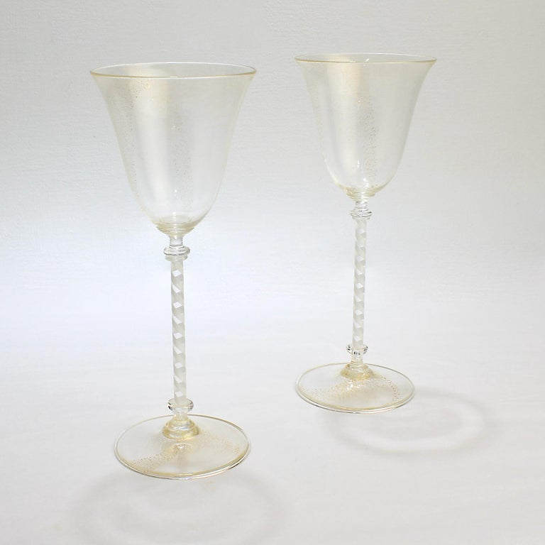A very fine pair of vintage Venetian or Murano glass wine goblets.