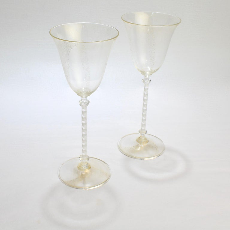 Mid-Century Modern Pair of Venetian Glass Wine Goblets with White Twist Stems and Gold Inclusions For Sale