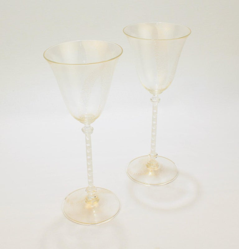 Italian Pair of Venetian Glass Wine Goblets with White Twist Stems and Gold Inclusions For Sale