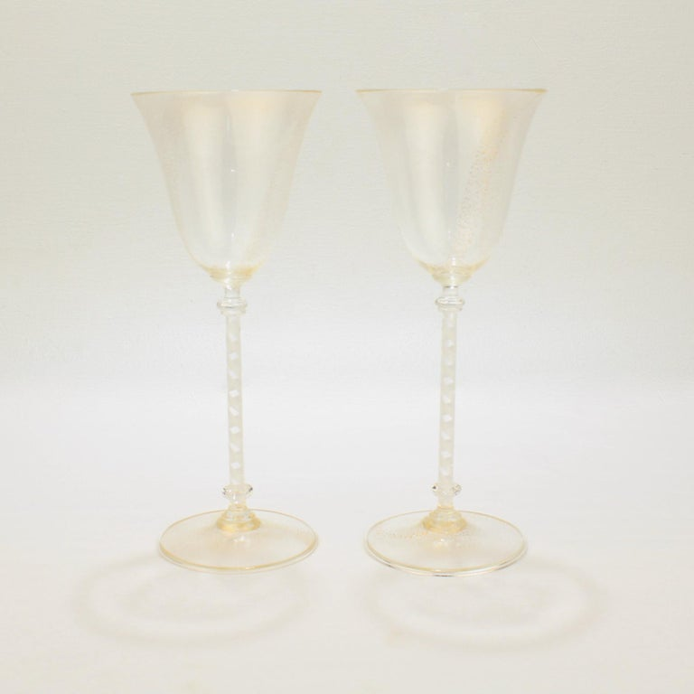 Pair of Venetian Glass Wine Goblets with White Twist Stems and Gold Inclusions In Good Condition For Sale In Philadelphia, PA