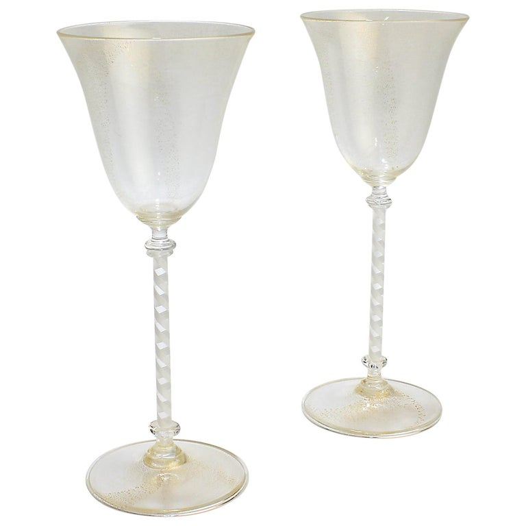 Pair of Venetian Glass Wine Goblets with White Twist Stems and Gold Inclusions For Sale