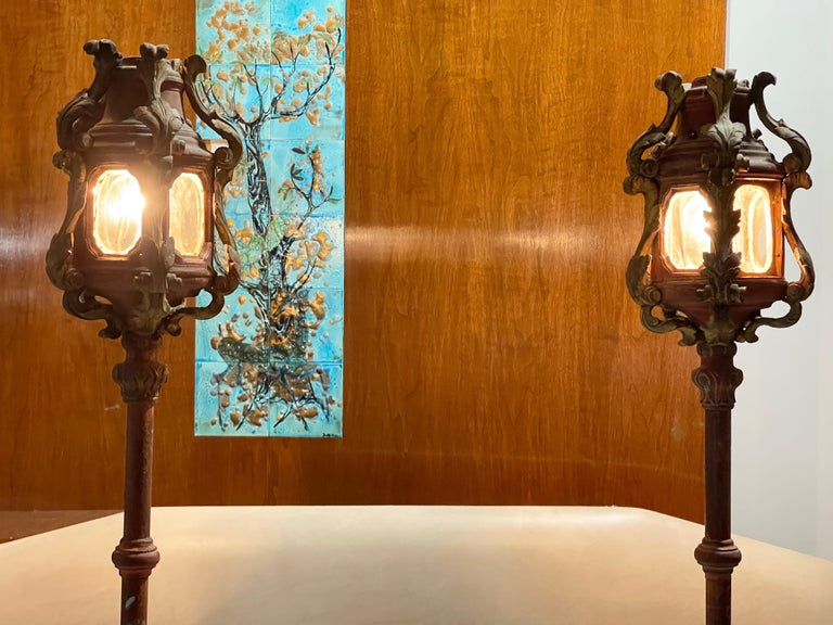 Pair of Venetian Gondola Lantern Torcheres For Sale 4