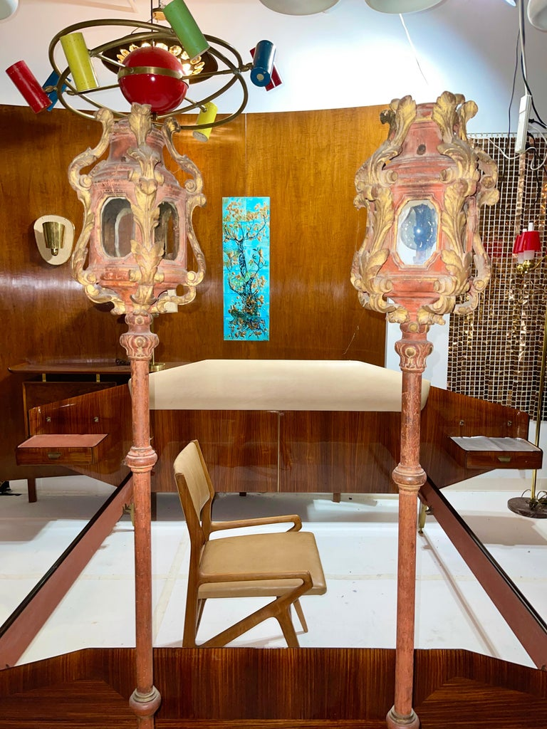 Pair of Venetian Gondola Lantern Torcheres For Sale 5