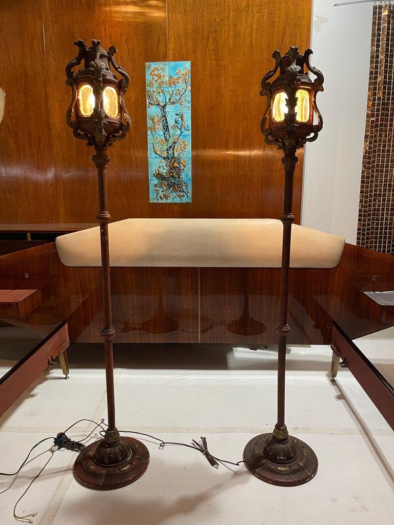 Baroque Revival Pair of Venetian Gondola Lantern Torcheres For Sale