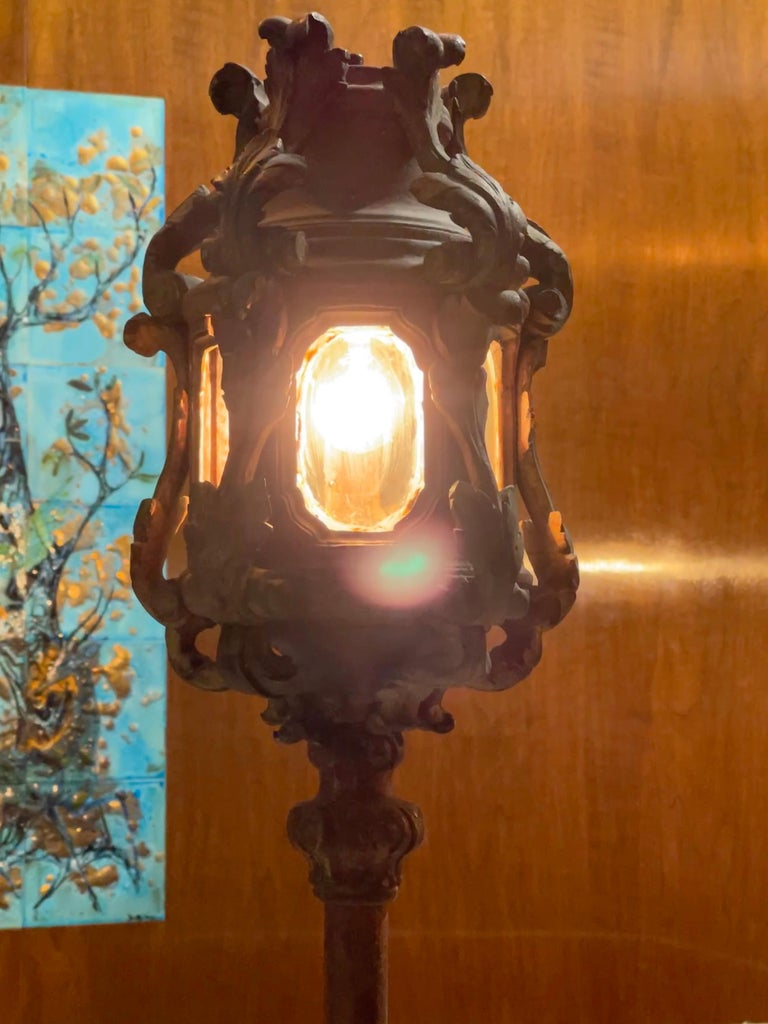 Pair of Venetian Gondola Lantern Torcheres For Sale 1