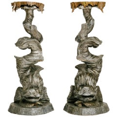 Pair of Venetian Grotto Dolphin Pedestals