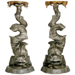 Pair of Venetian Grotto Dolphin Pedestals