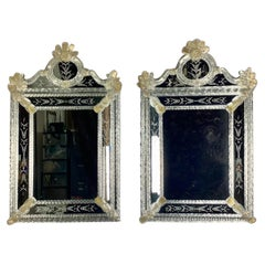 Pair of Venetian Hand Blown Glass Murano Mirrors, C. 1940's