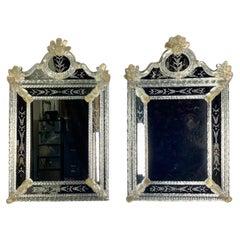 Pair of Venetian Hand Blown Glass Murano Mirrors, C. 1940's