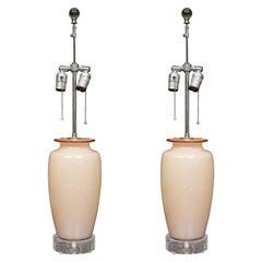 Pair of Venetian Hand Blown Vases as Table Lamps