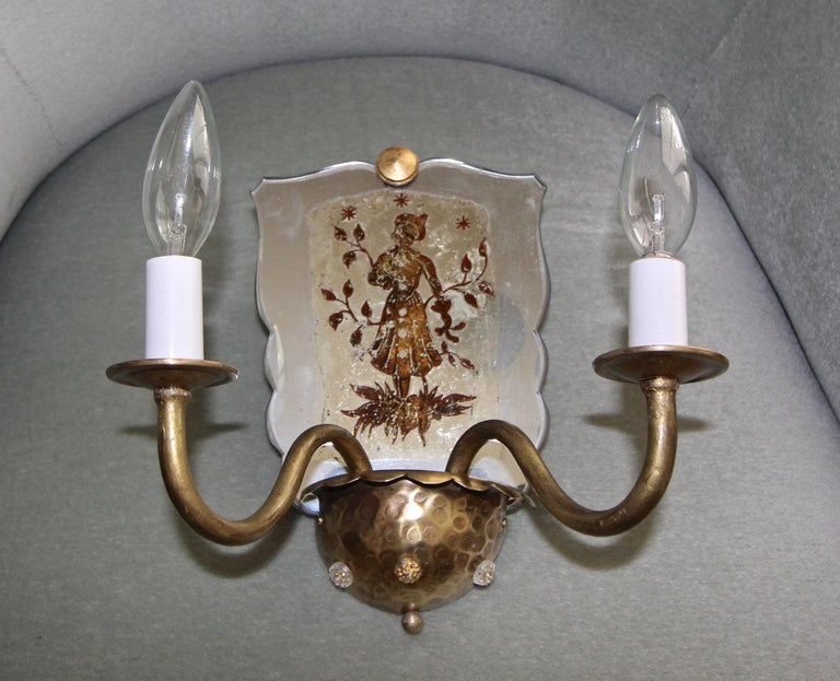 Pair of Venetian Italian Mirrored Wall Light Sconces For Sale 6