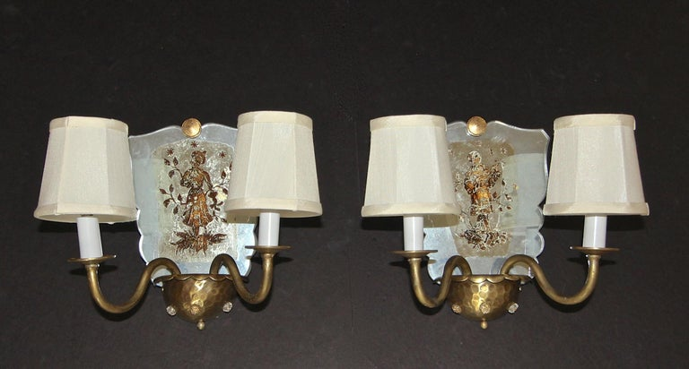 Pair of Venetian Italian Mirrored Wall Light Sconces For Sale 13