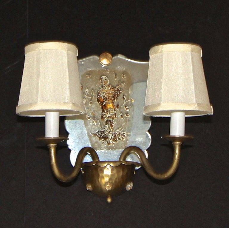 Mid-20th Century Pair of Venetian Italian Mirrored Wall Light Sconces For Sale