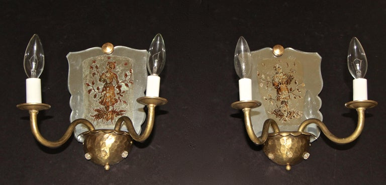 Pair of Venetian Italian Mirrored Wall Light Sconces For Sale 1