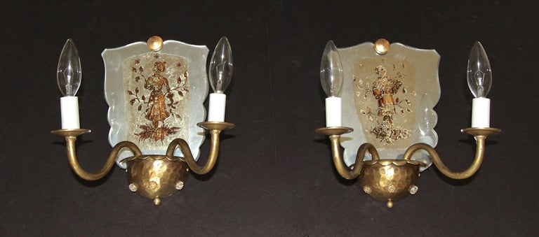 Pair of Venetian Italian Mirrored Wall Light Sconces For Sale 2