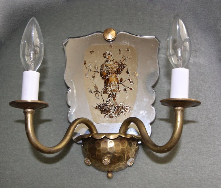 Pair of Venetian Italian Mirrored Wall Light Sconces For Sale 3