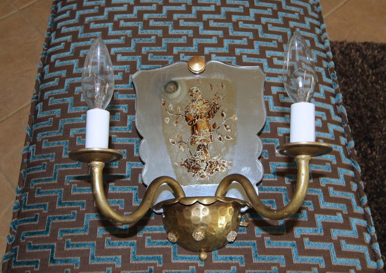 Pair of Venetian Italian Mirrored Wall Light Sconces For Sale 4