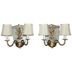 Pair of Venetian Italian Mirrored Wall Light Sconces