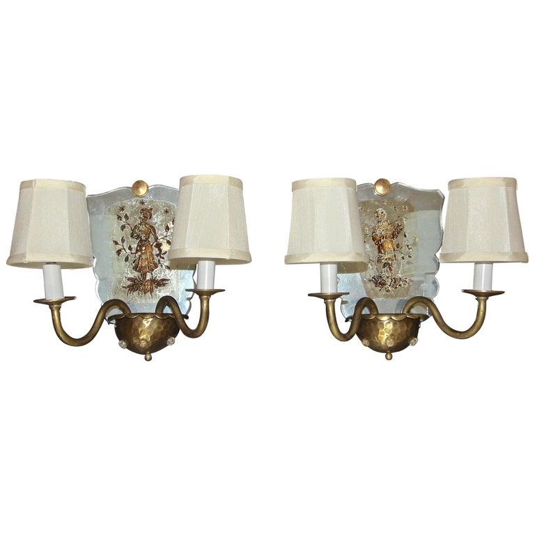 Pair of Venetian Italian Mirrored Wall Light Sconces For Sale