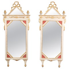 Pair of Venetian Italian Patinated Mirrored Glass Painted Gilded Mirrors