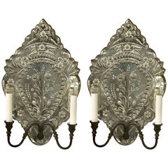 Pair of Venetian Mirrored Wall Sconces