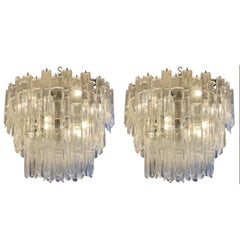 Pair of Venetian Murano Clear and White Glass Chandeliers, Italy, circa 1970s